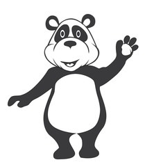 Black and white panda Cartoon