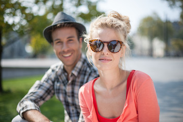 portrait of a modern couple in the city
