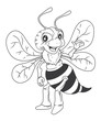Obrazy na płótnie, fototapety, zdjęcia, fotoobrazy drukowane : black and white Bee Cartoon