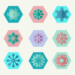 set of different snowflakes icons