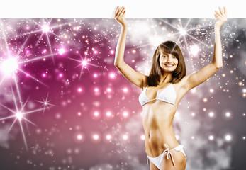 Bikini girl with banner