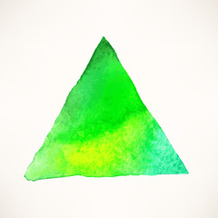 green watercolor triangle background