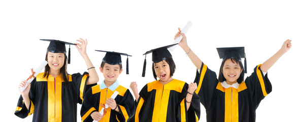 Asian school kids in graduation gown