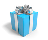 Blue gift box tied with a silver ribbon over white background