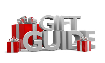 Gift guide text and three red Christmas gifts