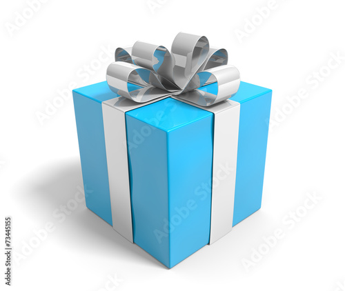 Blue gift box tied with a silver ribbon over white background - 73445155
