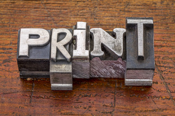 print word in metal type