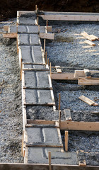 Concrete footing for house foundation