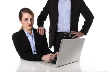 woman suffering work sexual harassment and abuse of office boss