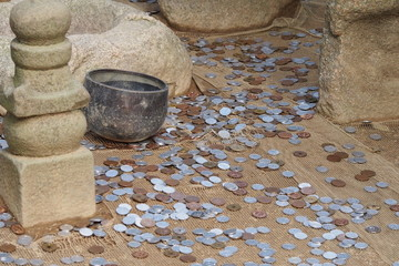 Many coins on the ground