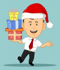 Cartoon Office Worker wearing Christmas Hat Holding Present