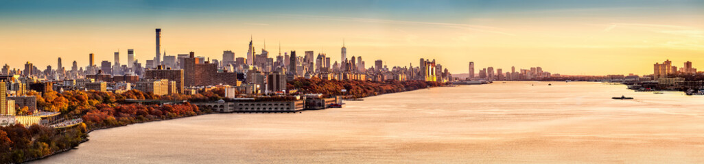 New York and Hudson River panorama at sunset