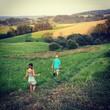 canvas print picture - Childrens meadow landscape