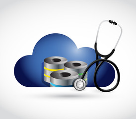 cloud data servers and medical stethoscope