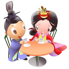 Tea time of the Japanese hina dolls illustration