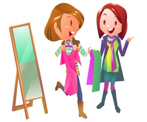 Shopping women in clothing store illustration