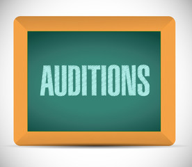 auditions sign on a board illustration