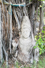 Anceint Shiva statue under the tree, Ancient Siam, Thailand