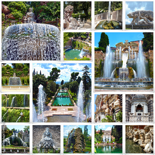 Aluminium Fontaine Collage image of Villa d'Este in Tivoli, near Rome, Italy