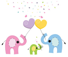 Elephant family baby greeting card vector background