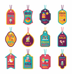 Toy tag flat banner background set, eps10