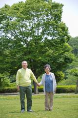 公園で手を繋いで立つ老夫婦