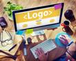 Logo Emblem Business Online Working Concept