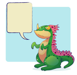 dinosaur monster with word bubble