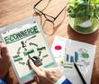 Leinwanddruck Bild - Digital Online Marketing E-Commerce Office Working Concept