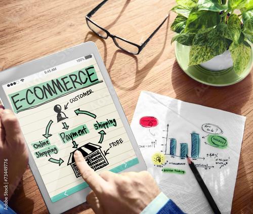 Leinwanddruck Bild Digital Online Marketing E-Commerce Office Working Concept