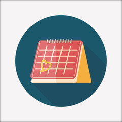 Valentine's Day February fourteen calendar flat icon with long s