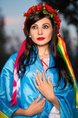 Portrait of young pretty Ukrainian woman