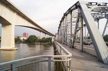 Two different bridges in Bangkok of Thailand