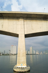 pier, river and skyscrapers in Bangkok of Thailand