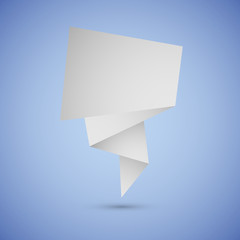 Abstract origami speech background on blue background