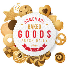 Baked goods label with type design