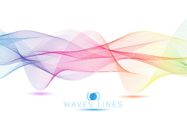 colorful gradient light waves line bright abstract pattern