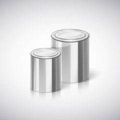 Metal cans with reflection and shadow.