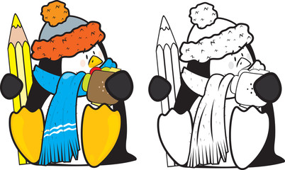 cute looking school penguin coloring book illustration