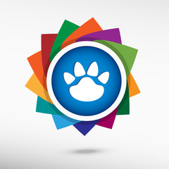 Paw icon. Flat design style