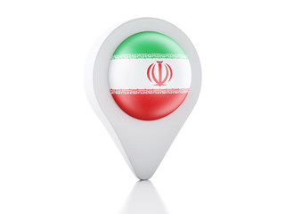 3d Map pointer Iran flag icon on white background