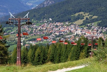 mountain chairlift in summer