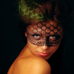 Portrait of young beautiful fresh girl with creative make-up