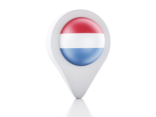 3d Map pointer Netherlands flag icon on white background