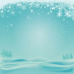 Arrière plan fond noël neige paysage bleu blanc flocons