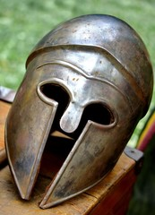 ancient Roman helmets of brave roman soldier