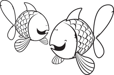 Fishes coloring book illustration