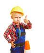 Leinwanddruck Bild - Kind als Bauarbeiter hält Daumen hoch