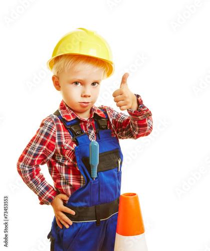 Leinwanddruck Bild Kind als Bauarbeiter hält Daumen hoch