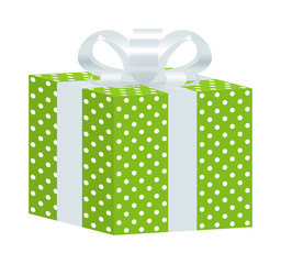 Green Dotted Gift Box with White Ribbon